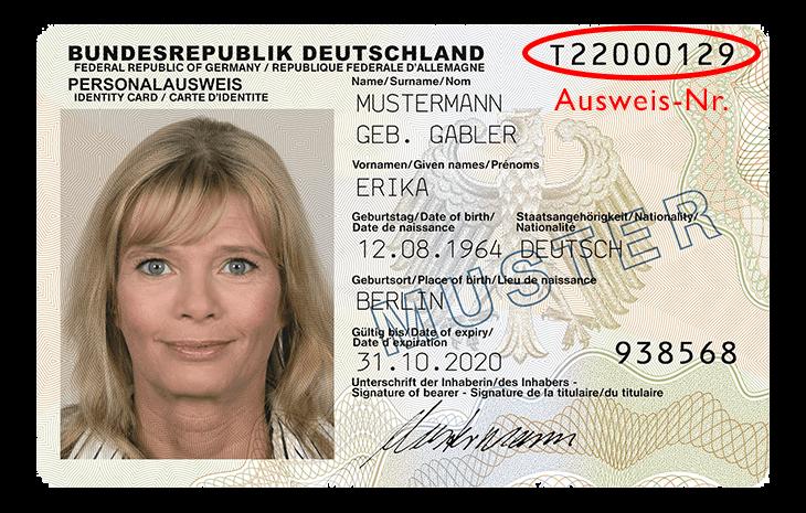 Deutscher Personalausweis Vorderseite
